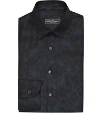 Salvatore Ferragamo Floral Print Slim Fit Silk Shirt Black