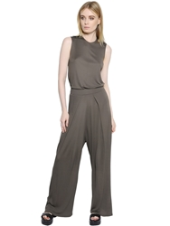 Kai Aakmann Viscose Jersey And Faux Leather Jumpsuit Dark Khaki