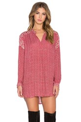 Velvet By Graham And Spencer Alima Casablanca Print Long Sleeve V Neck Top Red