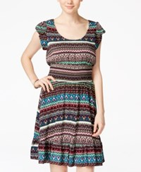 American Rag Printed Smocked Ruffle Hem Dress Only At Macy's Lapis Combo