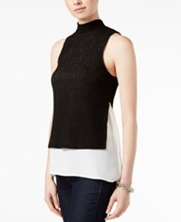 Bar Iii Layered Look Mock Neck Top Only At Macy's Deep Black