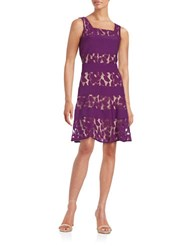 Gabby Skye Plus Lace A Line Dress Violet Nude