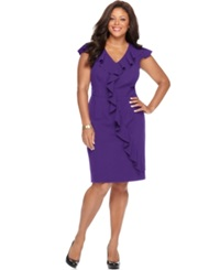 Spense Plus Size Cap Sleeve Banded Waist Ruffle Dress Purple Shine