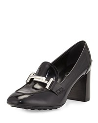 Tod's Patent Leather Loafer Pump W Driving Sole Black