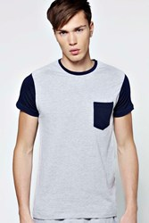 Boohoo Fit Crew Neck T Shirt With Contrast Details Grey
