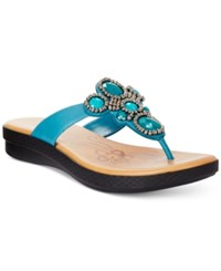 Easy Street Shoes Easy Street Begem Thong Sandals Women's Shoes Teal