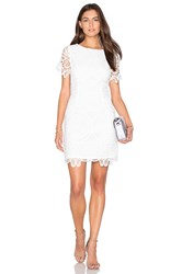 J.O.A. Short Sleeve Lace Dress White