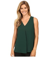 Vince Camuto Sleeveless V Neck Drape Front Blouse Forest Night Women's Blouse Green