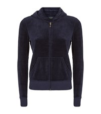 Juicy Couture Glamorous Logo Crest Velour Hoodie Female Navy