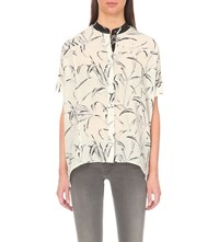 Allsaints Fleet Willow Silk Shirt Chalk White