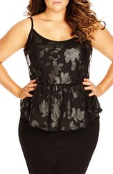 Plus Size Women's City Chic Faux Leather Flower Applique Peplum Top
