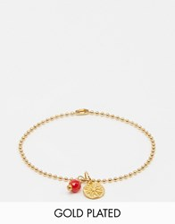 Mirabelle Ball Chain Gold Plated Bracelet With Red Coral Red Coral