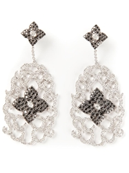 Elise Dray White Gold And Diamond Floral Pave Earrings Metallic