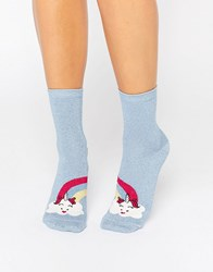 Asos Unicorn Cloud And Rainbow Ankle Socks Blue