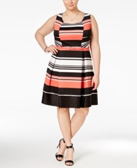 Trixxi Plus Size Belted Striped Fit And Flare Dress White Coral