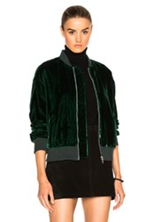 Frame Denim Velvet Bomber Jacket In Green