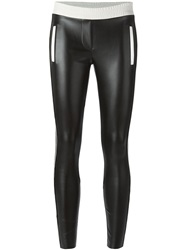 8Pm Contrasting Piping Trim And Waistband Leggings Black