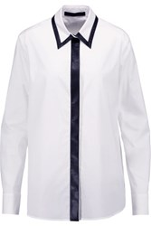 Karl Lagerfeld Amalia Faux Leather Trimmed Stretch Cotton Shirt White