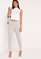 Missguided Faux Suede Biker Knee Leggings Grey Grey