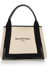 Balenciaga Cabas S Leather Trimmed Cotton Canvas Tote