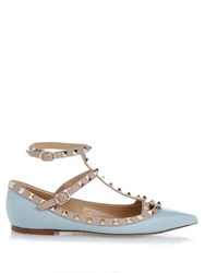 Valentino Rockstud Leather Flats Light Blue