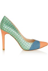Lucy Choi London Cupid Textured Leather And Printed Suede Pumps Blue