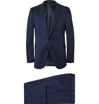 Hugo Boss Navy Slim Fit Stretch Cotton Suit Blue