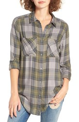 Women's Bp. Plaid Tunic Shirt Grey Cloudburst Camp Plaid
