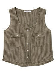 Mango Striped Sleeveless Top Khaki