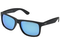 Ray Ban Rb4165 55Mm Black Rubberized Green Blue Mirror Fashion Sunglasses