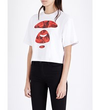 Aape By A Bathing Ape Cropped Logo Print Cotton Jersey T Shirt White Red