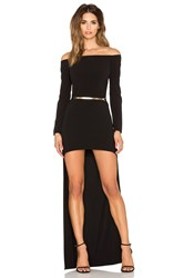 Halston Long Sleeve Hi Low Gown Black