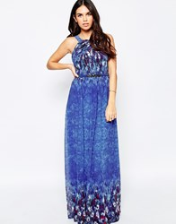 Little Mistress Maxi Dress With Water Paint Floral Blue