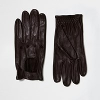 River Island Mens Brown Leather Driving Gloves