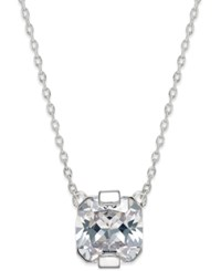 Inc International Concepts Cubic Zirconia Asscher Cut Crystal Pendant Necklace Only At Macy's Silver