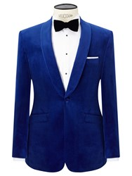 John Lewis Shawl Lapel Velvet Tailored Dinner Jacket Sapphire