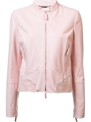 Roberto Cavalli Lace Insert Leather Jacket Pink And Purple
