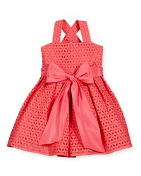 Helena Sleeveless Cross Back Eyelet Dress Coral Size 7 10 Girl's Size 7