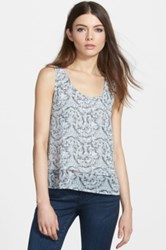 Frenchi Print Layered Tank Juniors White