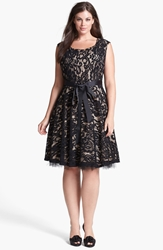 Betsy And Adam Lace Fit And Flare Dress Plus Size Black Nude