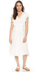 Apiece Apart San Rafael Midi Ruffle Dress Cream