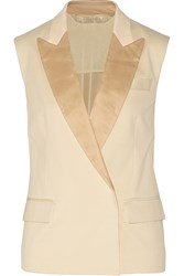 Reed Krakoff Leather Trimmed Cotton Blend Pique Vest White