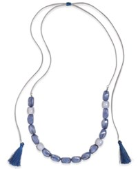 Inc International Concepts Blue Resin Stones Adjustable Tassel Necklace Only At Macy's Silver