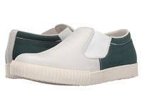 Marni Canvas Leather Slip On Sneaker White Green Men's Shoes Gray