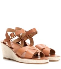 A.P.C. Leather And Suede Wedge Sandals Brown
