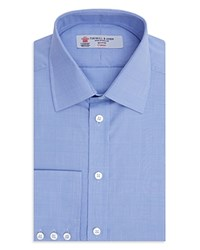 Turnbull And Asser Prince Of Wales Plaid Slim Fit Dress Shirt Blue