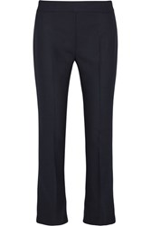 Max Mara Cropped Stretch Wool Flared Pants Midnight Blue