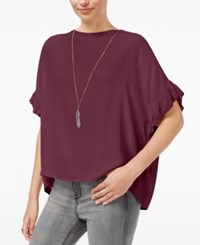 William Rast Jett Flutter Sleeve Top Grape Wine