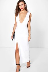 Boohoo Zoe Plunge Neck Cut Out Detail Maxi Cream
