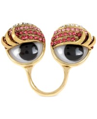 Betsey Johnson Gold Tone Pave Googly Eye Statement Ring